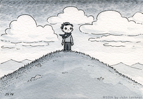 Boy on the Hill, watercolor and ink