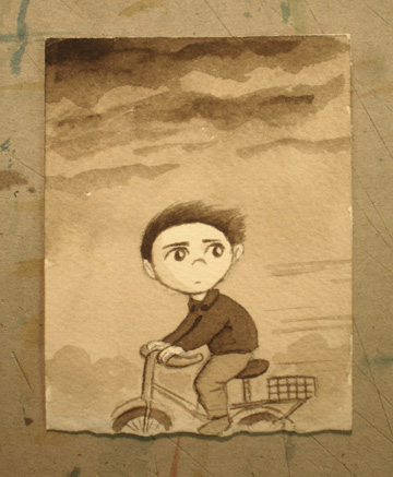Boy on bike, watercolor
