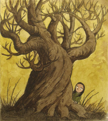 Girl behind tree