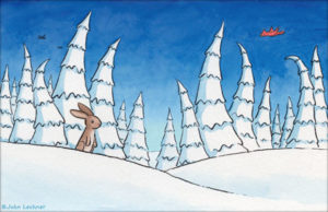 Rabbit in the snow, by John Lechner