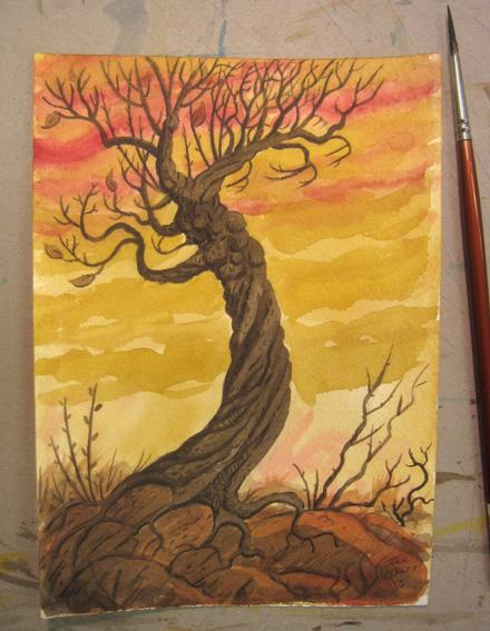 Gnarled Tree painting