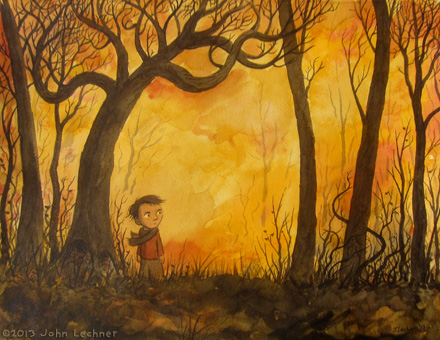 Boy in the Woods, watercolor by John Lechner