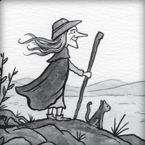 Woman standing on a hillside